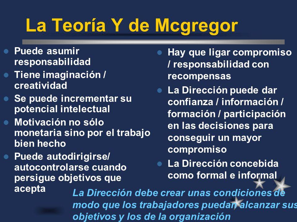 La Teoría Y de Mcgregor Puede asumir responsabilidad Tiene imaginación / creatividad Se puede incrementar su potencial intelectual Motivación no sólo