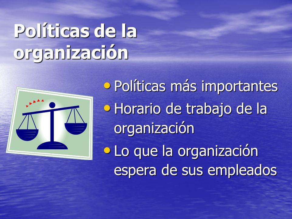 Políticas de la organización Políticas más importantes Políticas más importantes Horario de trabajo de la organización Horario de trabajo de la organi