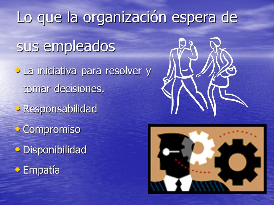 Lo que la organización espera de sus empleados La iniciativa para resolver y tomar decisiones. La iniciativa para resolver y tomar decisiones. Respons