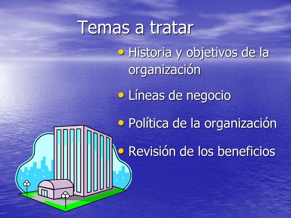Temas a tratar Historia y objetivos de la organización Historia y objetivos de la organización Líneas de negocio Líneas de negocio Política de la orga