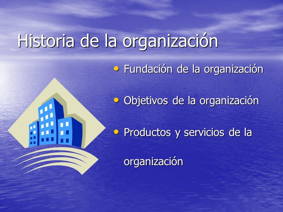 Historia de la organización Fundación de la organización Fundación de la organización Objetivos de la organización Objetivos de la organización Produc