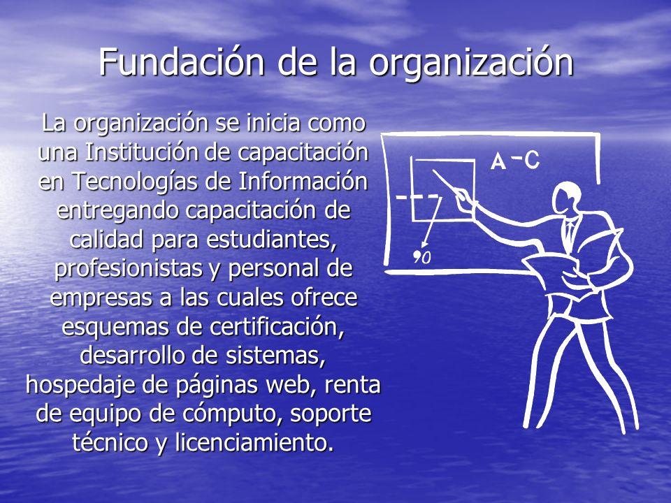 Fundación de la organización La organización se inicia como una Institución de capacitación en Tecnologías de Información entregando capacitación de c