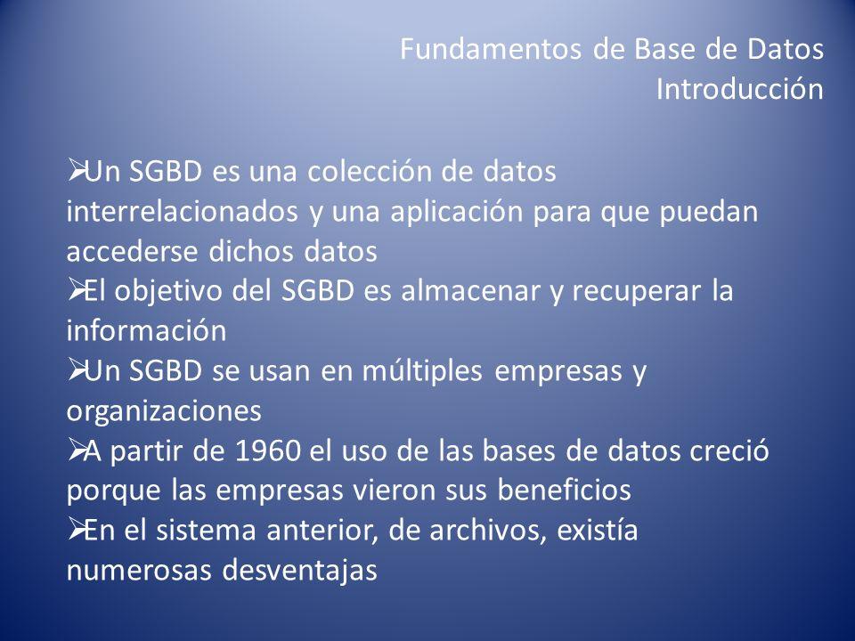 Fundamentos de Base de Datos Introducción Un SGBD es una colección de datos interrelacionados y una aplicación para que puedan accederse dichos datos