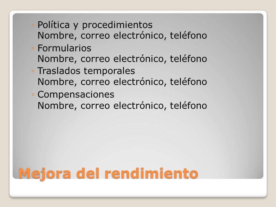 Mejora del rendimiento Política y procedimientos Nombre, correo electrónico, teléfono Formularios Nombre, correo electrónico, teléfono Traslados tempo