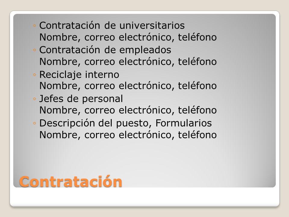 Contratación Contratación de universitarios Nombre, correo electrónico, teléfono Contratación de empleados Nombre, correo electrónico, teléfono Recicl