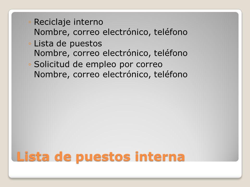Lista de puestos interna Reciclaje interno Nombre, correo electrónico, teléfono Lista de puestos Nombre, correo electrónico, teléfono Solicitud de emp