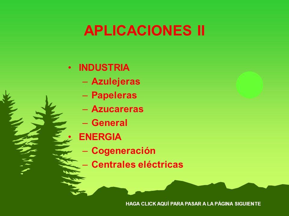 HAGA CLICK AQUÍ PARA PASAR A LA PÁGINA SIGUIENTE APLICACIONES II INDUSTRIA –Azulejeras –Papeleras –Azucareras –General ENERGIA –Cogeneración –Centrale