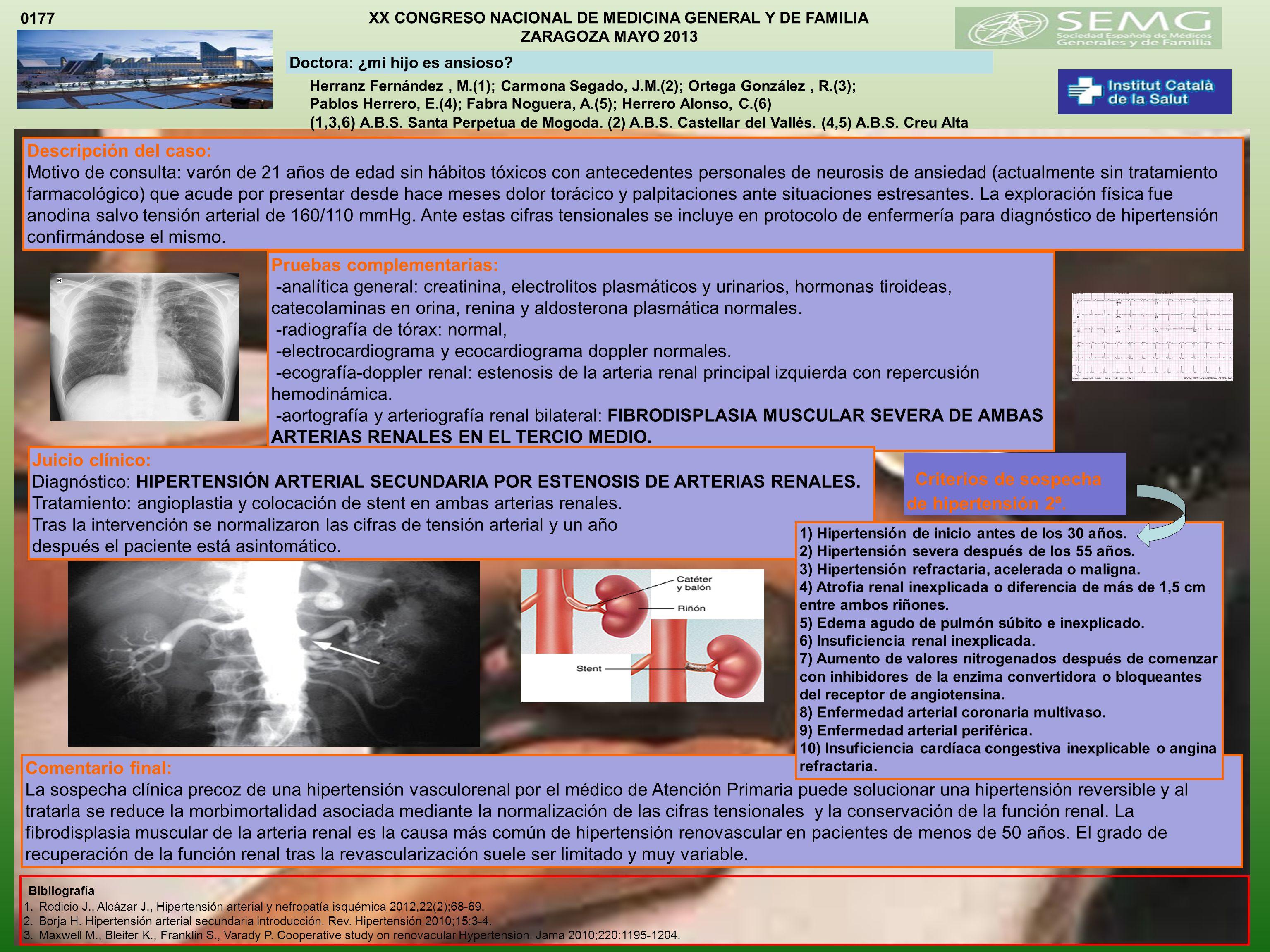 XX CONGRESO NACIONAL DE MEDICINA GENERAL Y DE FAMILIA ZARAGOZA MAYO 2013 Herranz Fernández, M.(1); Carmona Segado, J.M.(2); Ortega González, R.(3); Pablos Herrero, E.(4); Fabra Noguera, A.(5); Herrero Alonso, C.(6) (1,3,6) A.B.S.