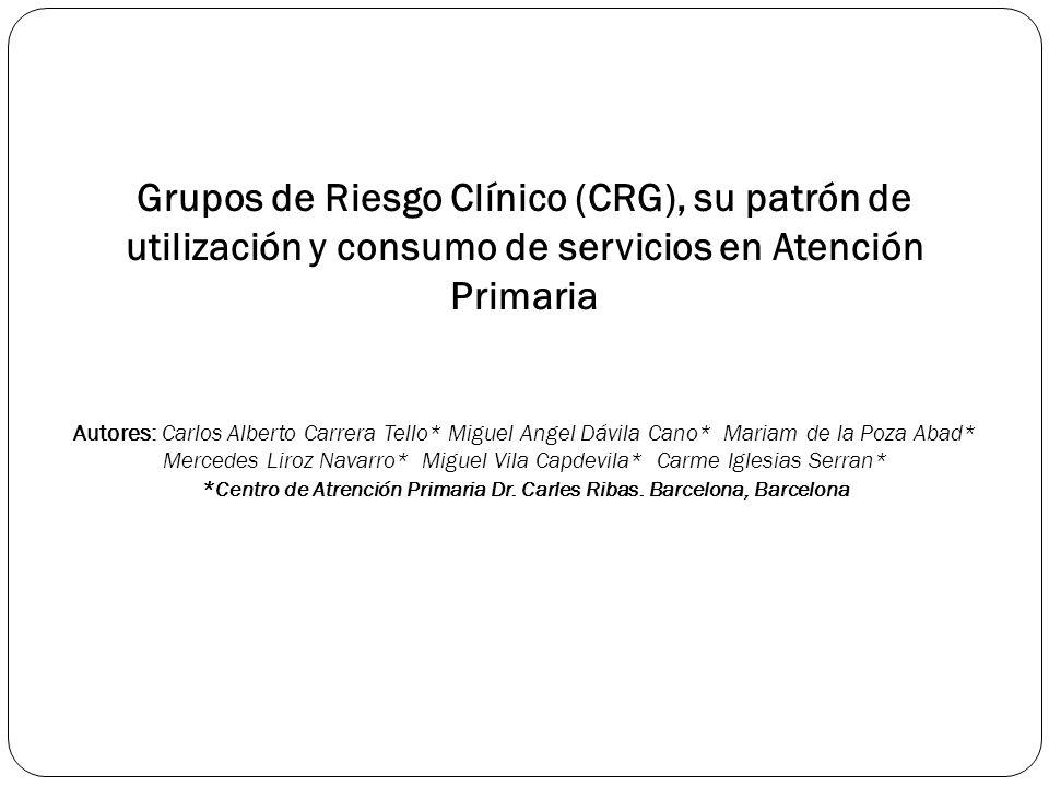 Grupos de Riesgo Clínico (CRG), su patrón de utilización y consumo de servicios en Atención Primaria Autores: Carlos Alberto Carrera Tello* Miguel Ang