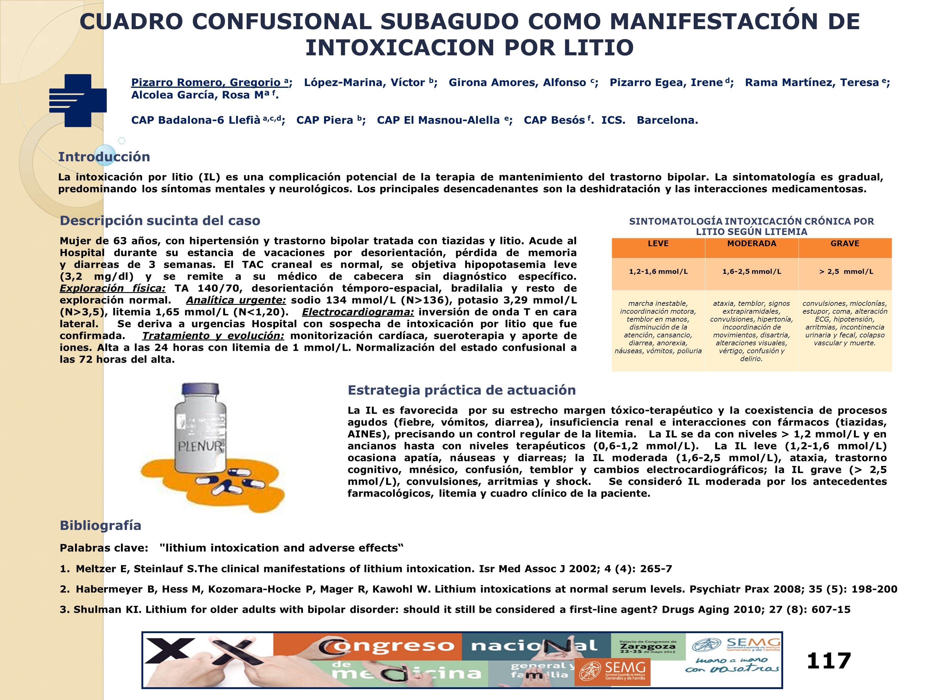 CUADRO CONFUSIONAL SUBAGUDO COMO MANIFESTACIÓN DE INTOXICACION POR LITIO Pizarro Romero, Gregorio a ; López-Marina, Víctor b ; Girona Amores, Alfonso