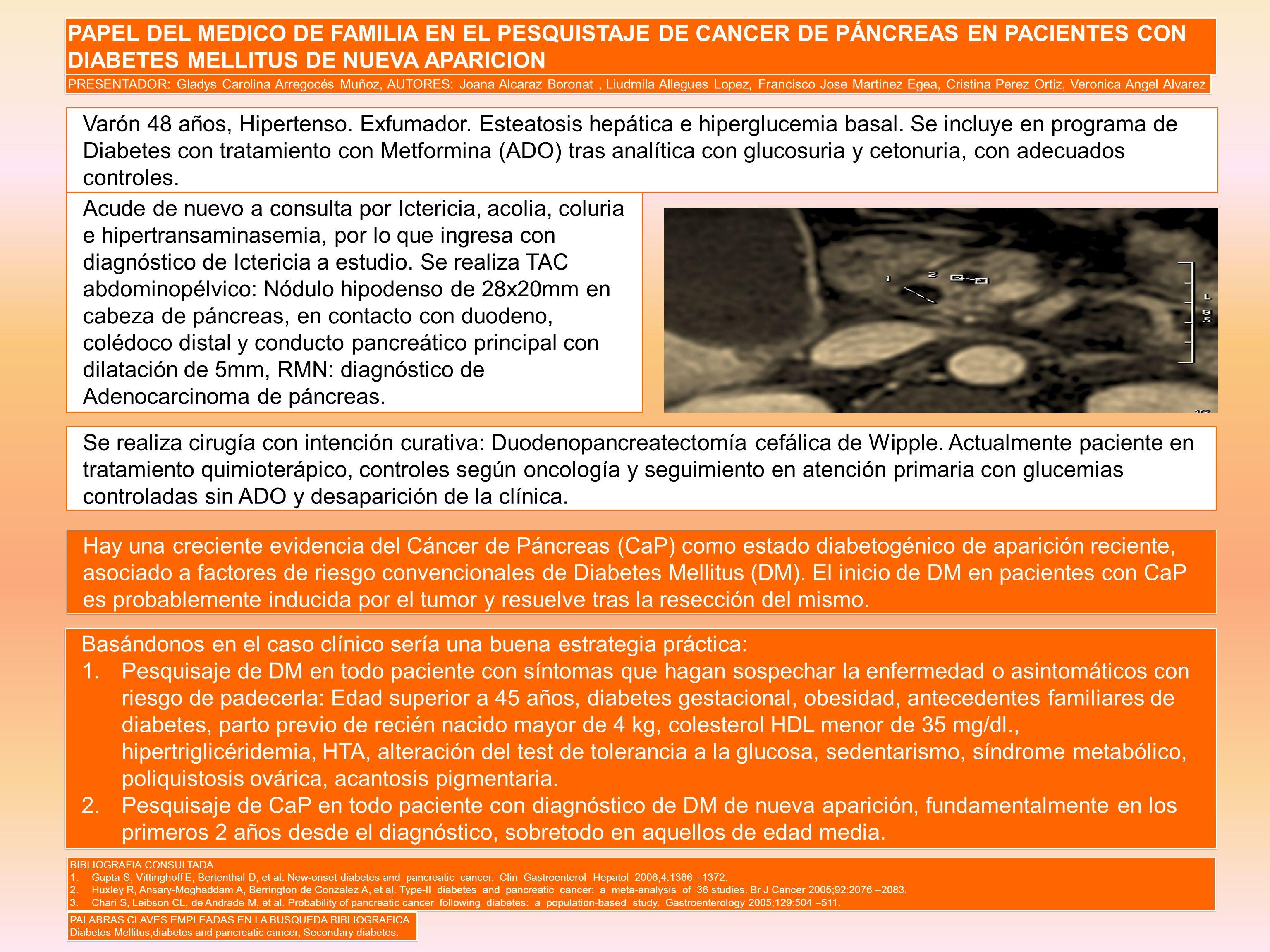 PAPEL DEL MEDICO DE FAMILIA EN EL PESQUISTAJE DE CANCER DE PÁNCREAS EN PACIENTES CON DIABETES MELLITUS DE NUEVA APARICION PRESENTADOR: Gladys Carolina