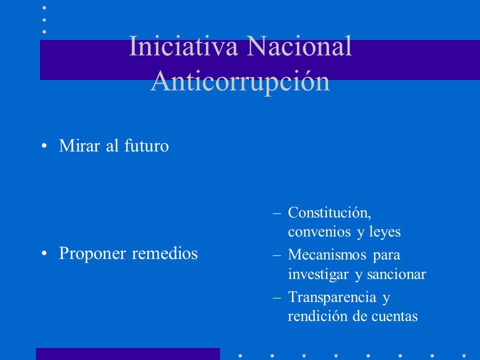 Iniciativa Nacional Anticorrupción Mirar al futuro Proponer remedios –Constitución, convenios y leyes –Mecanismos para investigar y sancionar –Transparencia y rendición de cuentas
