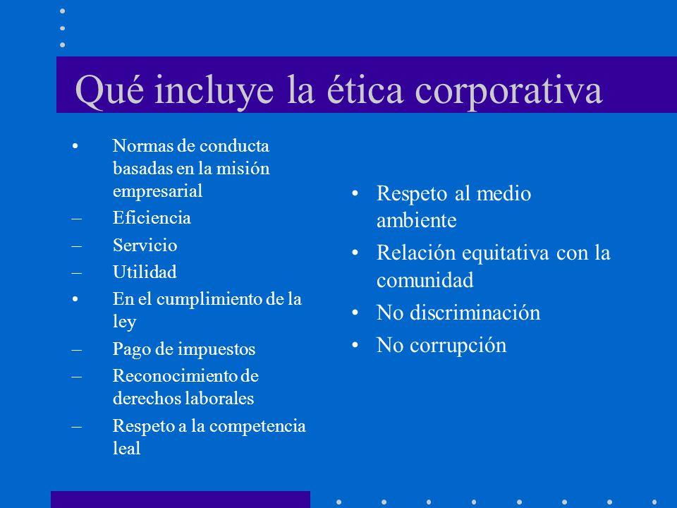 Qué incluye la ética corporativa Normas de conducta basadas en la misión empresarial –Eficiencia –Servicio –Utilidad En el cumplimiento de la ley –Pago de impuestos –Reconocimiento de derechos laborales –Respeto a la competencia leal Respeto al medio ambiente Relación equitativa con la comunidad No discriminación No corrupción