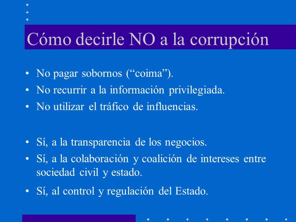 Cómo decirle NO a la corrupción No pagar sobornos (coima).