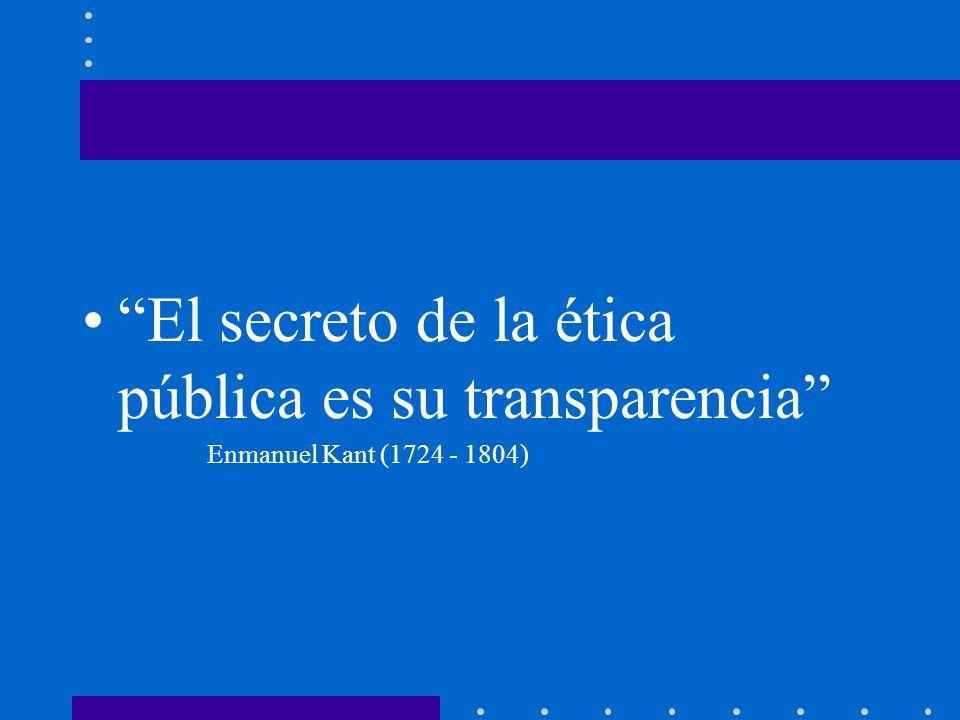 El secreto de la ética pública es su transparencia Enmanuel Kant (1724 - 1804)