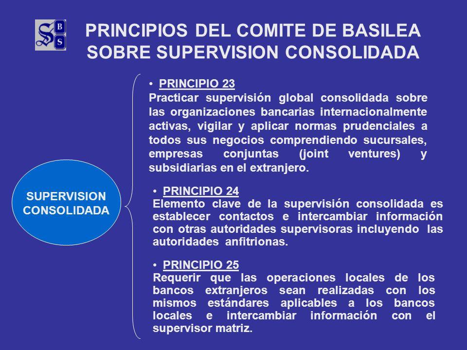 PRINCIPIOS DEL COMITE DE BASILEA SOBRE SUPERVISION CONSOLIDADA SUPERVISION CONSOLIDADA PRINCIPIO 23 Practicar supervisión global consolidada sobre las