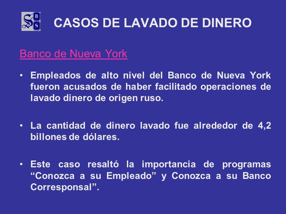 CASOS DE LAVADO DE DINERO Banco de Nueva York Empleados de alto nivel del Banco de Nueva York fueron acusados de haber facilitado operaciones de lavad