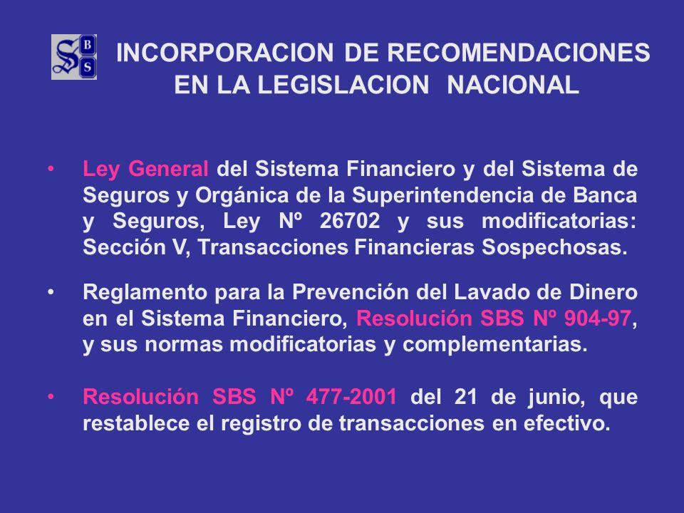 INCORPORACION DE RECOMENDACIONES EN LA LEGISLACION NACIONAL Ley General del Sistema Financiero y del Sistema de Seguros y Orgánica de la Superintenden