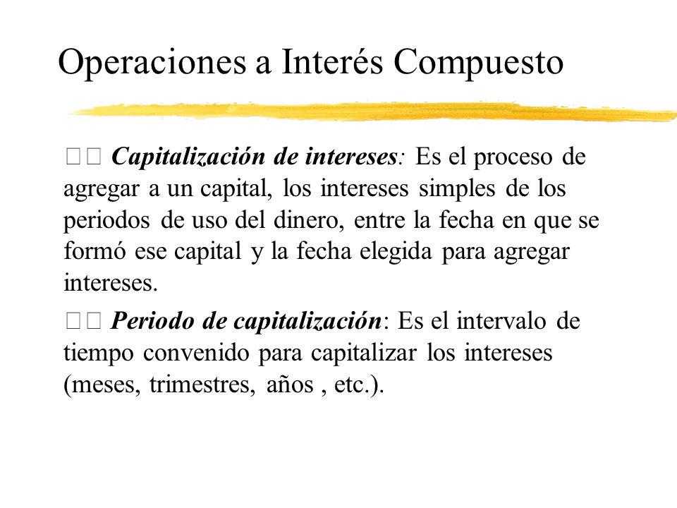 Operaciones a Interés Compuesto Capitalización de intereses: Es el proceso de agregar a un capital, los intereses simples de los periodos de uso del d