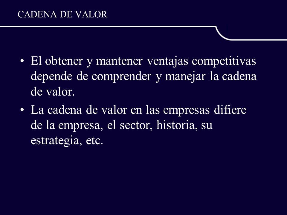 CADENA DE VALOR El obtener y mantener ventajas competitivas depende de comprender y manejar la cadena de valor. La cadena de valor en las empresas dif