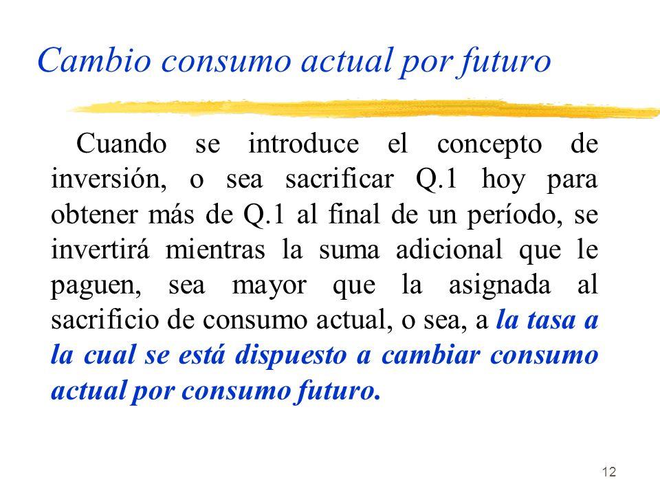 12 Cambio consumo actual por futuro Cuando se introduce el concepto de inversión, o sea sacrificar Q.1 hoy para obtener más de Q.1 al final de un perí