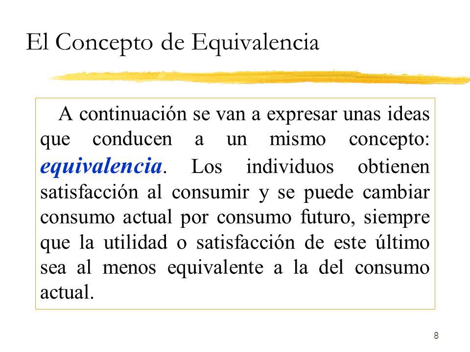 8 El Concepto de Equivalencia A continuación se van a expresar unas ideas que conducen a un mismo concepto: equivalencia. Los individuos obtienen sati