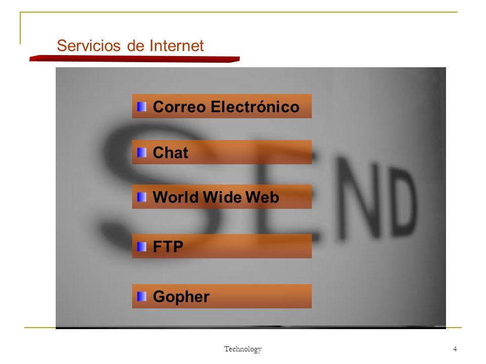Technology 4 Servicios de Internet Correo Electrónico Chat World Wide Web FTP Gopher