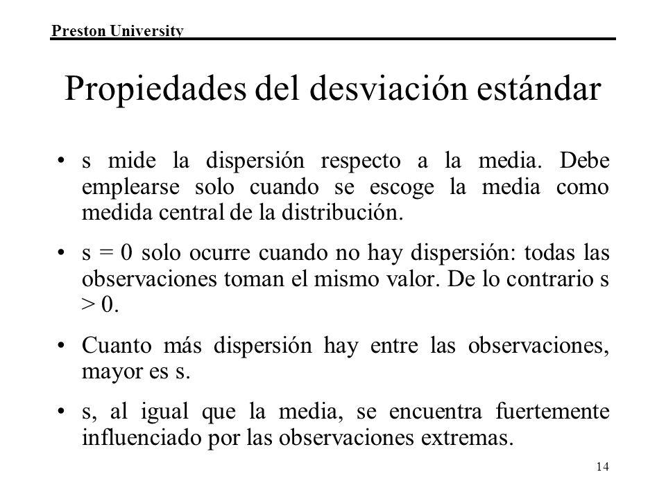 Preston University 14 Propiedades del desviación estándar s mide la dispersión respecto a la media. Debe emplearse solo cuando se escoge la media como