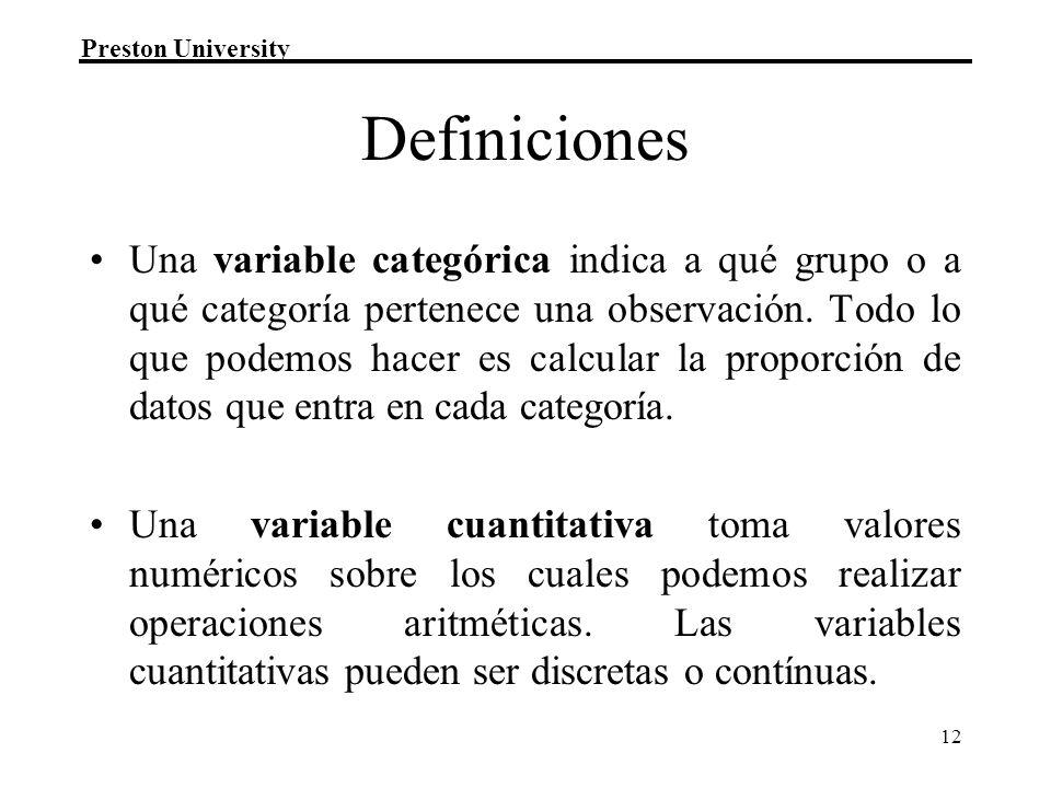 Preston University 12 Definiciones Una variable categórica indica a qué grupo o a qué categoría pertenece una observación. Todo lo que podemos hacer e