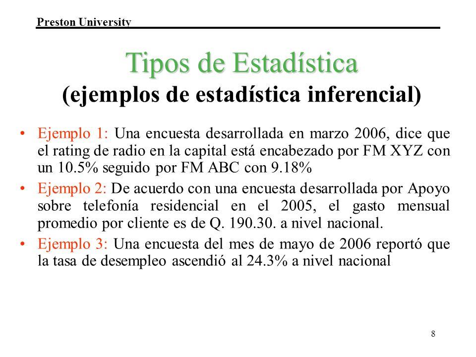 Preston University 8 Ejemplo 1: Una encuesta desarrollada en marzo 2006, dice que el rating de radio en la capital está encabezado por FM XYZ con un 1