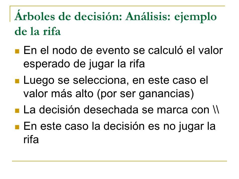 Árboles de decisión: Análisis: ejemplo de la rifa En el nodo de evento se calculó el valor esperado de jugar la rifa Luego se selecciona, en este caso