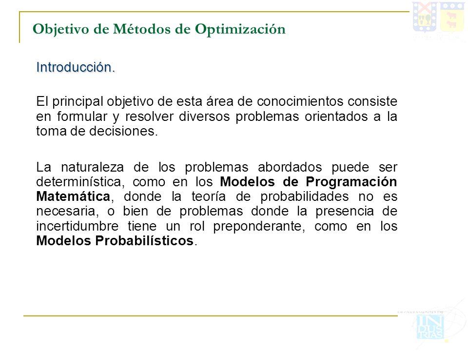 Objetivo de Métodos de Optimización Introducción. El principal objetivo de esta área de conocimientos consiste en formular y resolver diversos problem