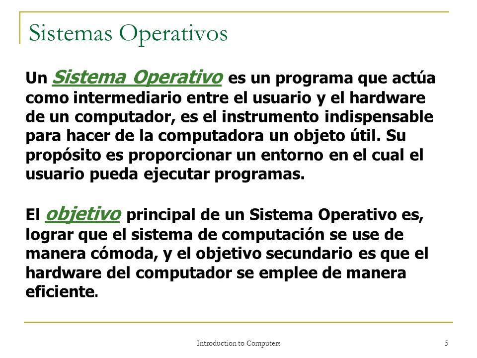 Introduction to Computers 4 Sistemas Operativos Definición de Sistema Operativo Programa interfaz entre los programas de aplicación y el hardware de u