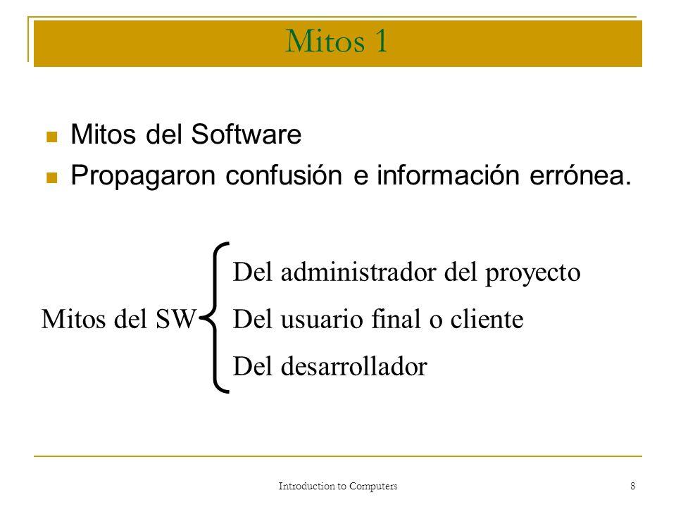 Introduction to Computers 7 Sistemas operativos más utilizados: Sistemas operativos más utilizados: Windows ( windows; 3.1, 3.1, NT, 95, 98, 00, XP) : programa informático más conocido del mundo, utiliza los ordenadores personales llamados compatibles y que ha reemplazado al MS-DOS( primer sistema operativo par microordenadores).
