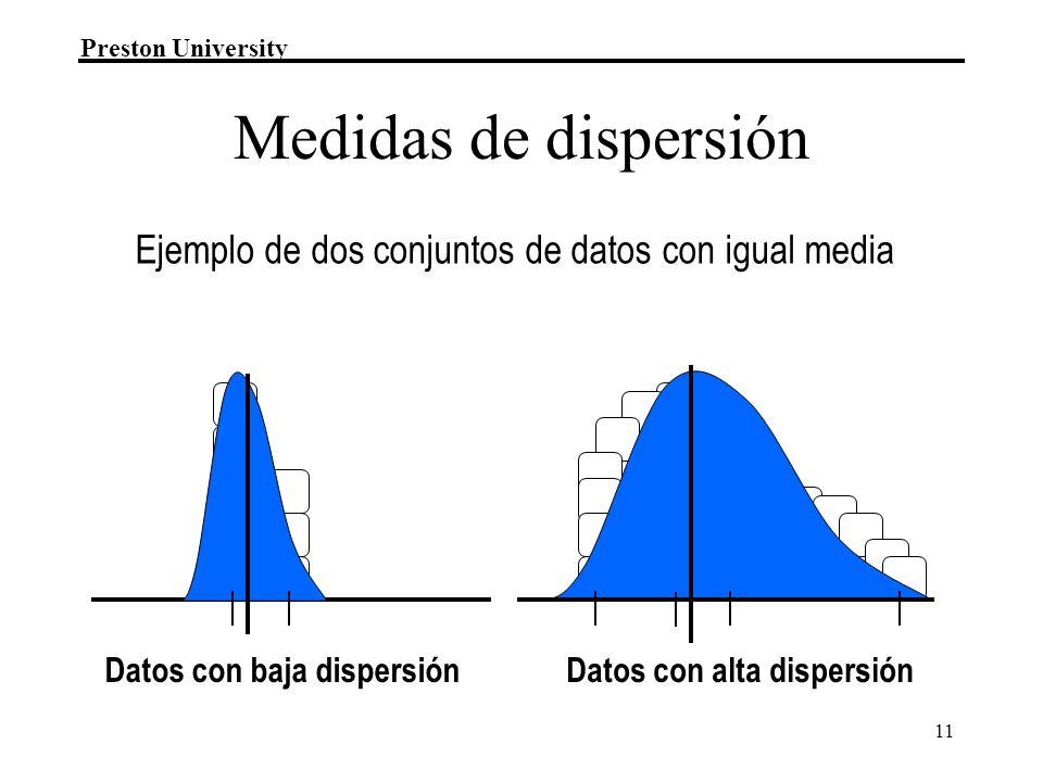 Preston University 11 Ejemplo de dos conjuntos de datos con igual media Datos con alta dispersiónDatos con baja dispersión Medidas de dispersión
