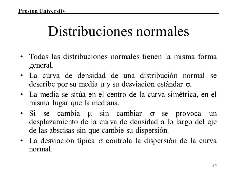 Preston University 15 Distribuciones normales Todas las distribuciones normales tienen la misma forma general. La curva de densidad de una distribució
