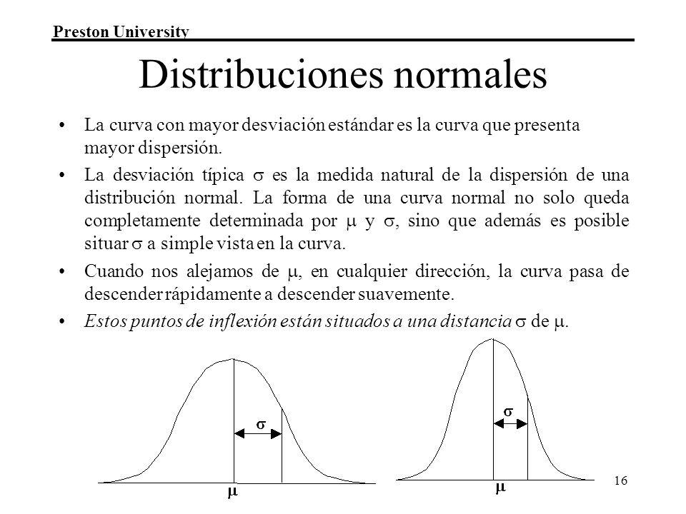Preston University 16 Distribuciones normales La curva con mayor desviación estándar es la curva que presenta mayor dispersión.