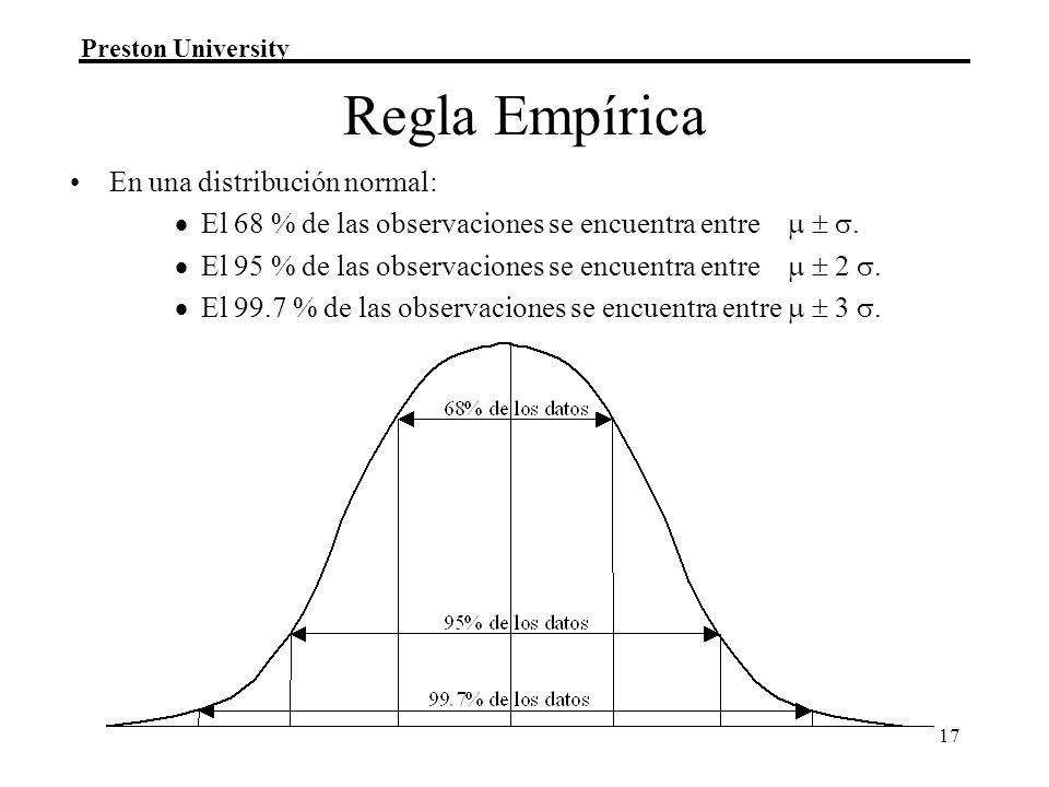 Preston University 17 Regla Empírica En una distribución normal: El 68 % de las observaciones se encuentra entre.
