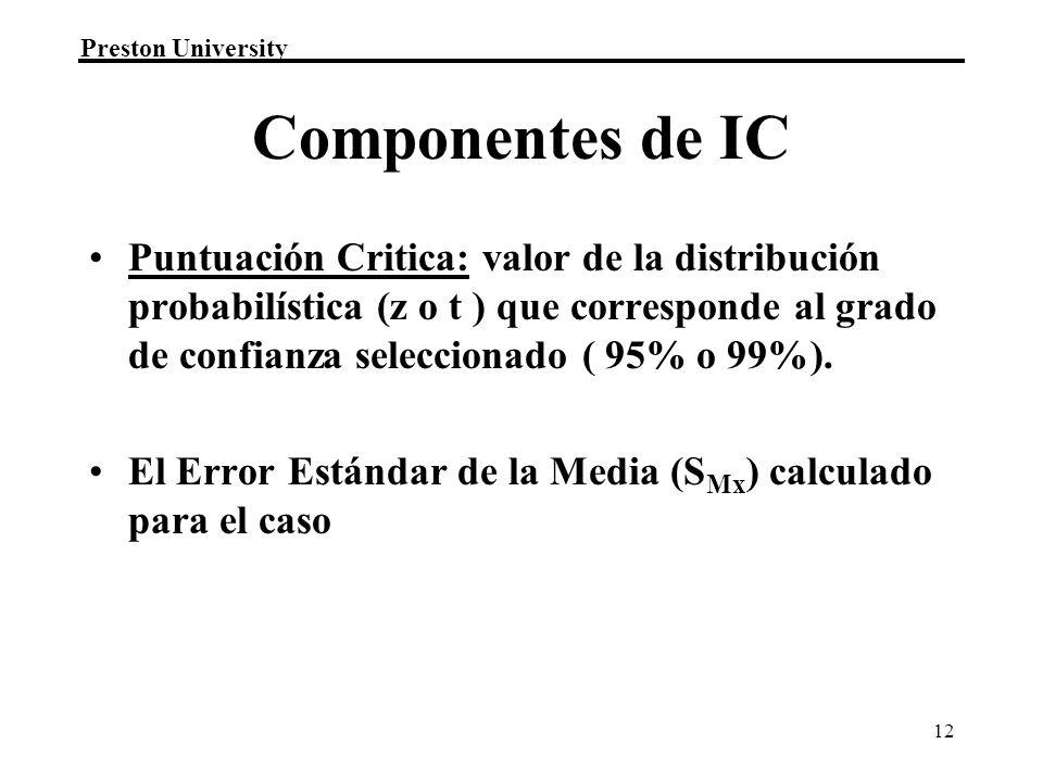 Preston University 12 Componentes de IC Puntuación Critica: valor de la distribución probabilística (z o t ) que corresponde al grado de confianza seleccionado ( 95% o 99%).