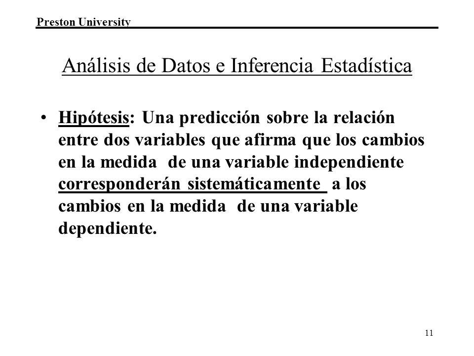 Preston University 11 Análisis de Datos e Inferencia Estadística Hipótesis: Una predicción sobre la relación entre dos variables que afirma que los ca