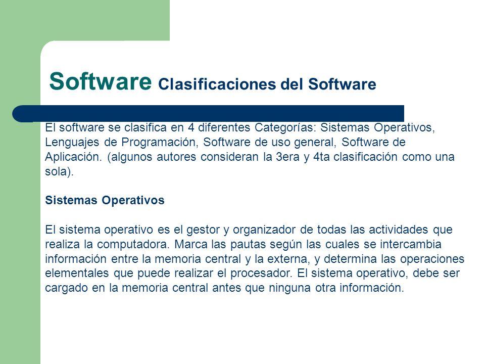 Software Clasificaciones del Software El software se clasifica en 4 diferentes Categorías: Sistemas Operativos, Lenguajes de Programación, Software de