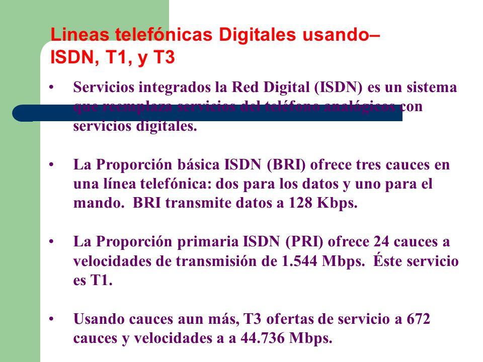 Lineas telefónicas Digitales usando– ISDN, T1, y T3 Servicios integrados la Red Digital (ISDN) es un sistema que reemplaza servicios del teléfono anal