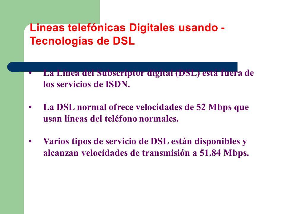 La Línea del Subscriptor digital (DSL) está fuera de los servicios de ISDN. La DSL normal ofrece velocidades de 52 Mbps que usan líneas del teléfono n