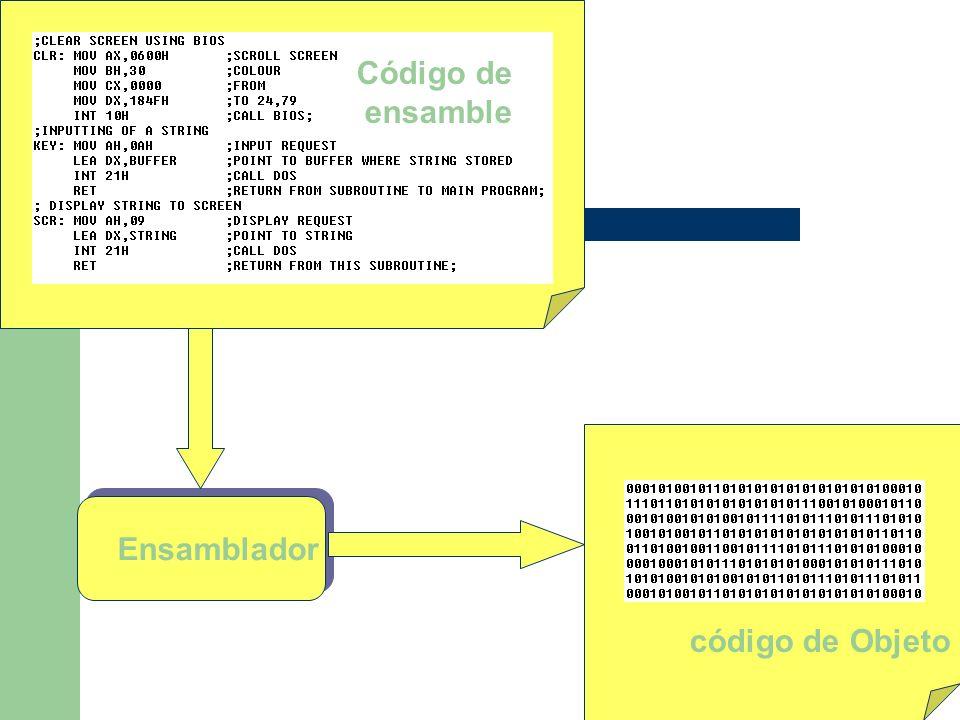 Ensamblador Código de ensamble código de Objeto