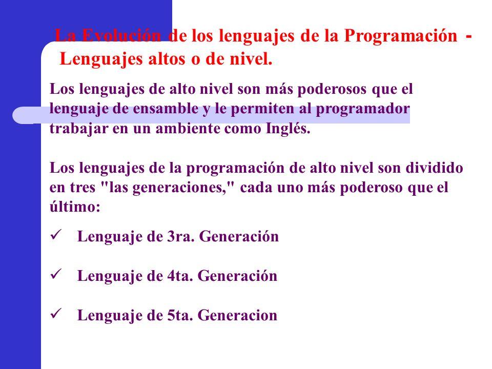 Lenguaje de 3ra. Generación Lenguaje de 4ta. Generación Lenguaje de 5ta. Generacion Los lenguajes de alto nivel son más poderosos que el lenguaje de e