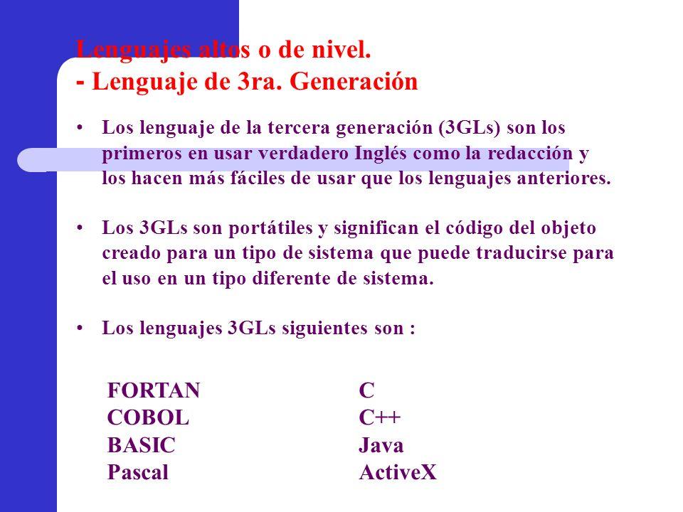 FORTANC COBOLC++ BASICJava PascalActiveX Los lenguaje de la tercera generación (3GLs) son los primeros en usar verdadero Inglés como la redacción y lo