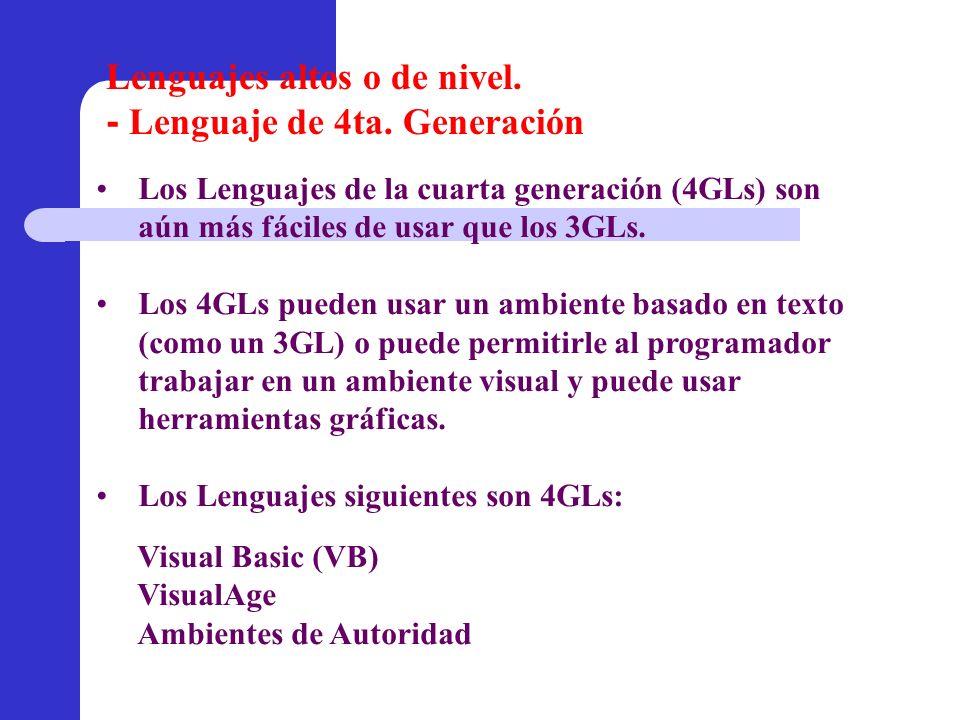 Visual Basic (VB) VisualAge Ambientes de Autoridad Los Lenguajes de la cuarta generación (4GLs) son aún más fáciles de usar que los 3GLs. Los 4GLs pue