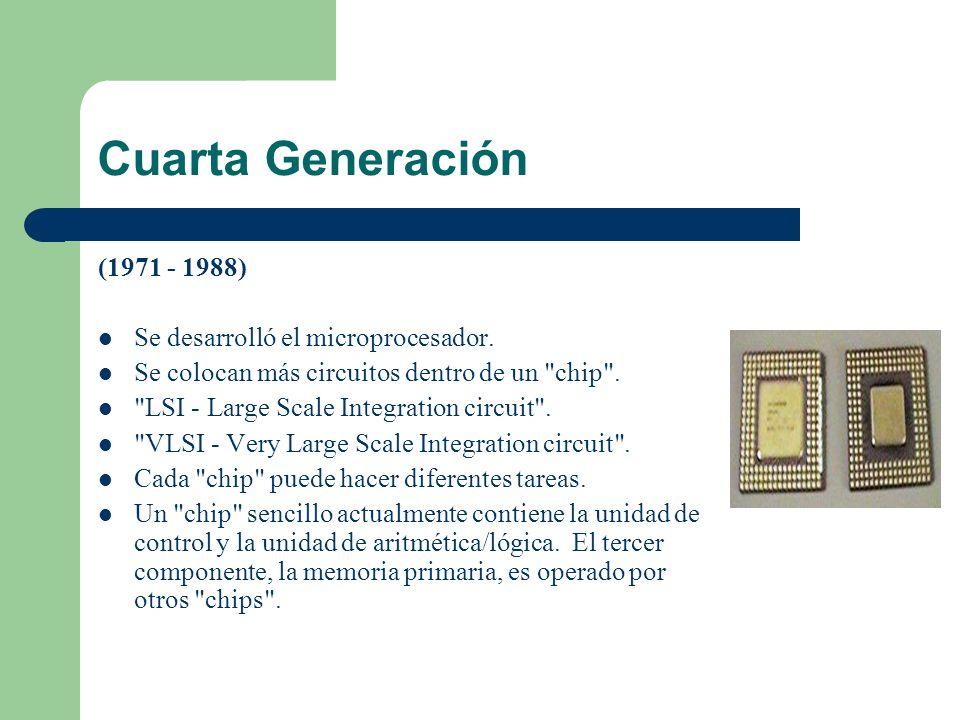 Cuarta Generación (1971 - 1988) Se desarrolló el microprocesador. Se colocan más circuitos dentro de un