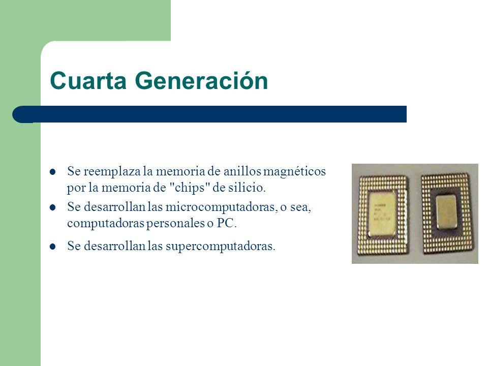 Cuarta Generación Se reemplaza la memoria de anillos magnéticos por la memoria de