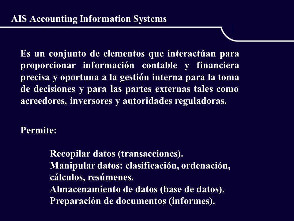 AIS Accounting Information Systems Es un conjunto de elementos que interactúan para proporcionar información contable y financiera precisa y oportuna